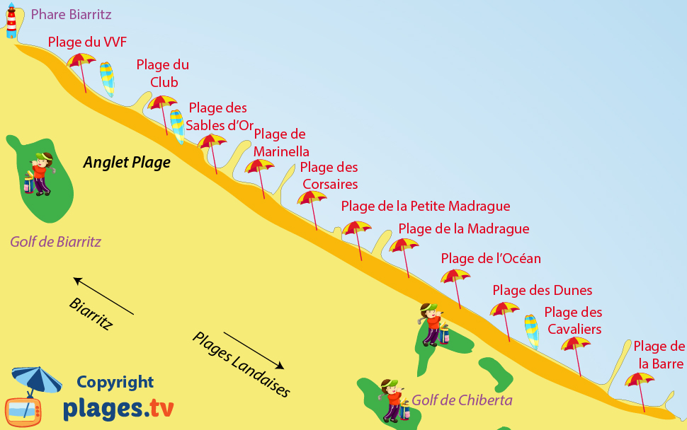 Carte plages anglet