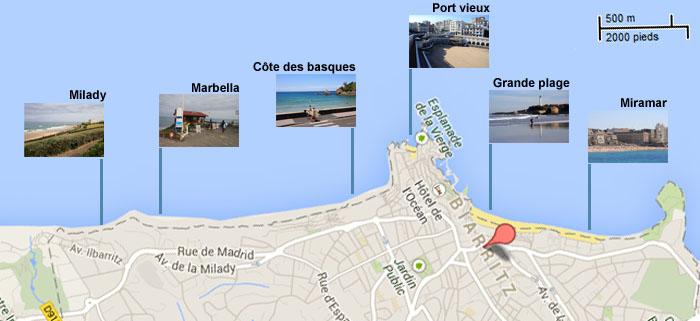 Spot map biarritz